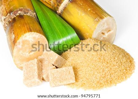 Sugarcane with brown sugar - stock photo