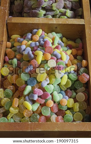 Sugary gummy candies in shop - stock photo