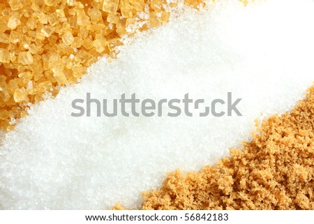 Suger 3 type, brown suger, crystalline sugar and granulated sugar. - stock photo
