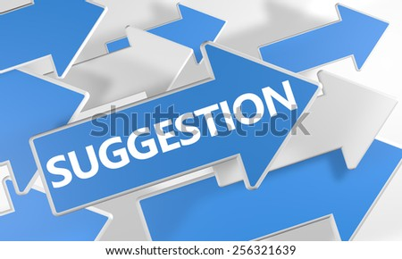 Suggestion 3d render concept with blue and white arrows flying over a white background. - stock photo