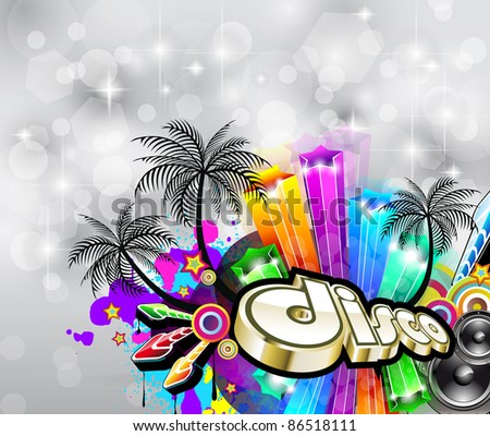 Suggestive Tropical Disco Flyer for Christmas Disco Party Event. - stock photo