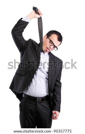 suicidal businessman hanging himself on his tie, isolated on white - stock photo