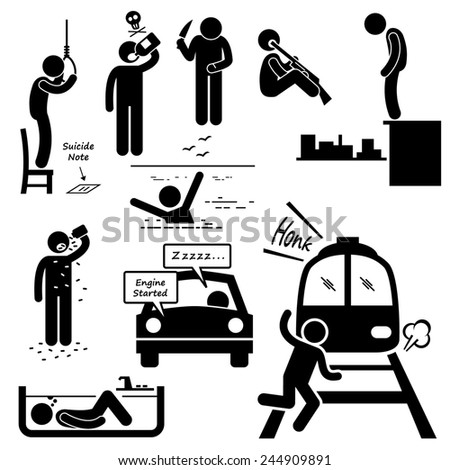 Suicidal Commit Suicide Methods Stick Figure Pictogram Icons - stock photo