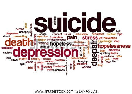 Suicide concept word cloud background - stock photo