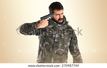 suicide soldier - stock photo