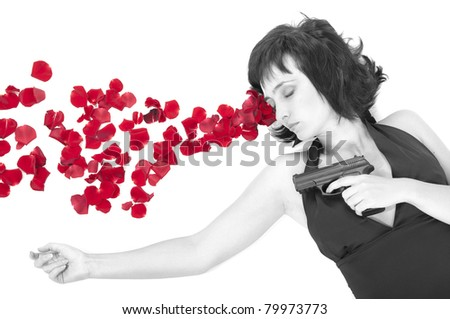 Suicide woman lying on the floor with gun and metaphoric blood isolated on white - stock photo
