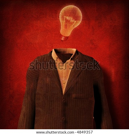 Suit and light bulb part of text grunge painting - stock photo