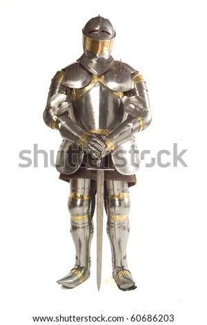 Suit of Armour photographed on white (front view)