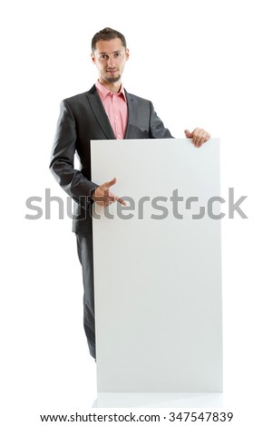 Suit tie businessman displaying placard isolated