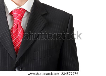 Suit with shirt and tie, close-up on a white background - stock photo