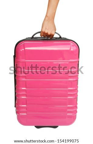 suitcase and hand isolated on white background (with clipping path) - stock photo