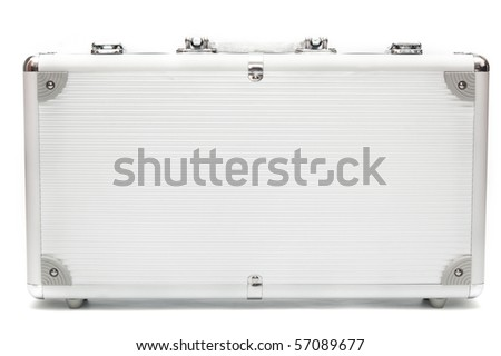 Suitcase closeup on white background
