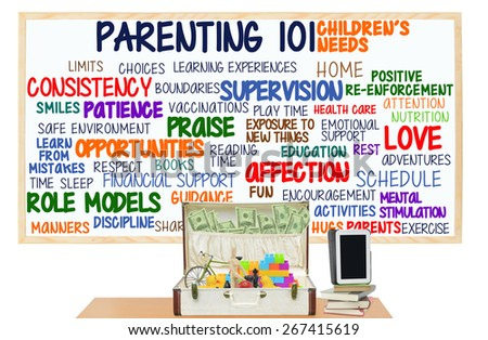 Suitcase filled with toys and Money Parenting 101 Children Need: Love, Attention, Discipline, Patience, Activities, Exercise, Nutrition, Health Care, Encouragement, Safe Environment, Home, Parents  - stock photo