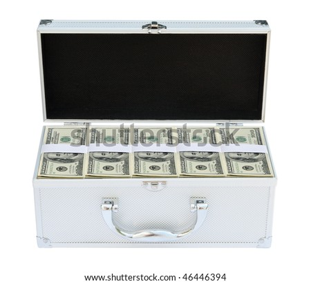 Suitcase full of American money on the white background - stock photo