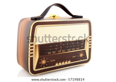 suitcase in the shape of an old radio - stock photo
