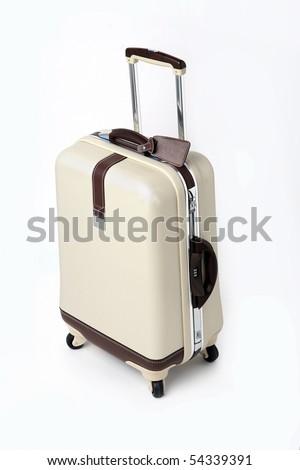 Suitcase isolated on white. - stock photo