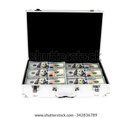 Suitcase of money with hundred dollar on white  background - stock photo