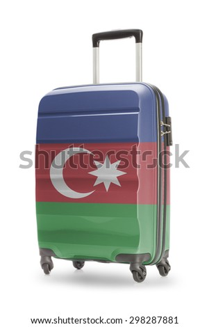 Suitcase painted into national flag - Azerbaijan - stock photo