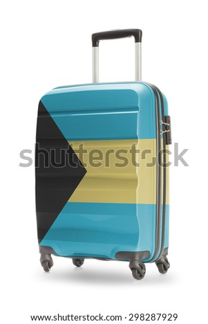 Suitcase painted into national flag - Bahamas