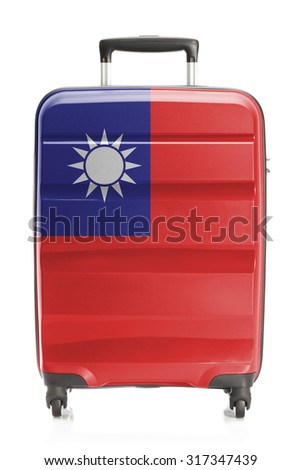 Suitcase painted into national flag series - Taiwan - stock photo