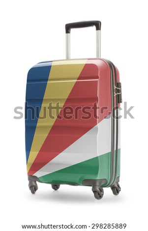 Suitcase painted into national flag - Seychelles