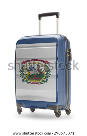 Suitcase painted into US state flag - West Virginia - stock photo