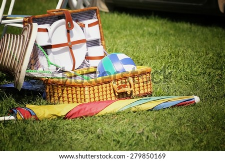 suitcase picnic plates - stock photo