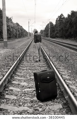 Suitcase standing left on railroad