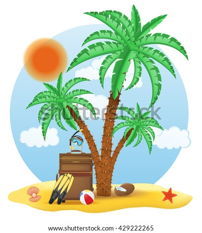 suitcase standing under a palm tree illustration isolated on white background