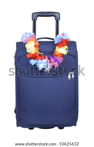 Suitcase - travel to Hawaii - stock photo