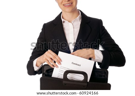 Suitcase with blank contracts for new employees - stock photo