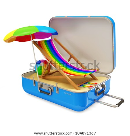 Suitcase with Different Accessories for Vacation isolated on white background - stock photo