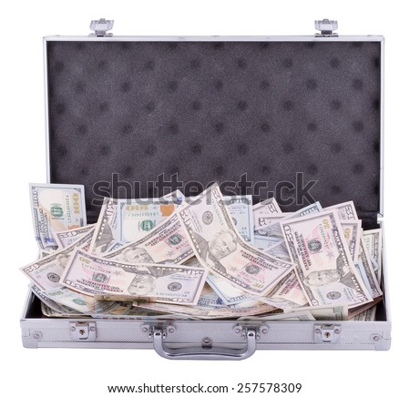 suitcase with dollars isolated on white - stock photo