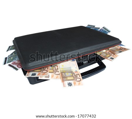 Suitcase with euro banknotes money - stock photo