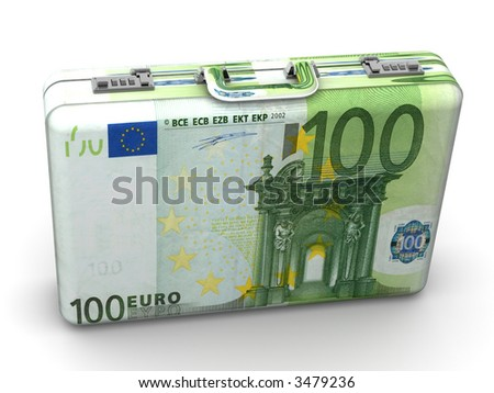 Suitcase with euro. 3d - stock photo