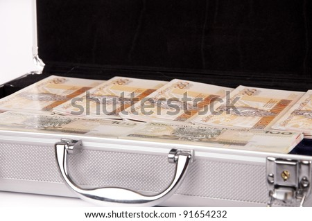 suitcase with money - stock photo