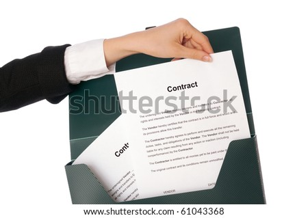 Suitcase with new contracts for employees - stock photo