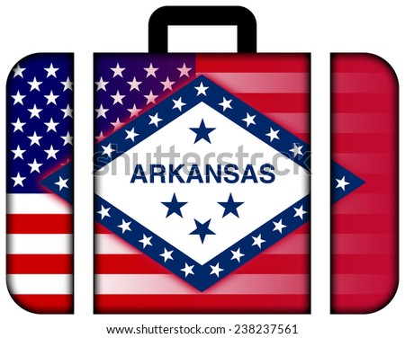 Suitcase with USA and Arkansas State Flag