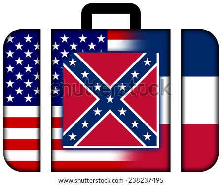 Suitcase with USA and Mississippi State Flag - stock photo