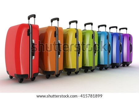 Suitcases for travel. 3d illustration over white - stock photo