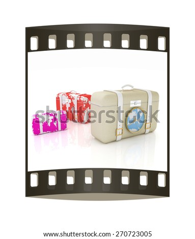 Suitcases for travel. The film strip - stock photo