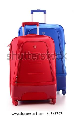 Suitcases isolated on white - stock photo