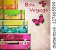 Suitcases on the vintage background. - stock