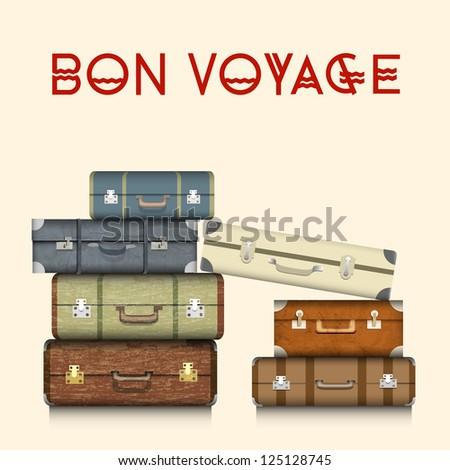 Suitcases. Raster version - stock photo