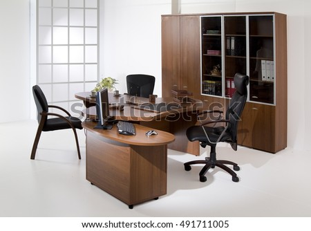 Suite of office furniture on isolated studio background