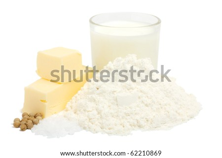 Suite of products for the preparation of bechamel sauce. All products are raw. Isolated on white background.