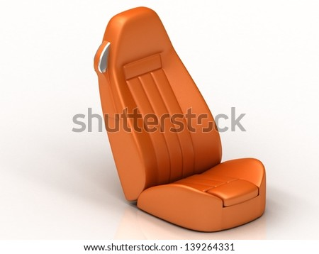Suite orange car seat from the car to the isolated white background - stock photo