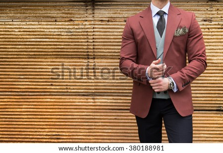 Suited man posing - stock photo