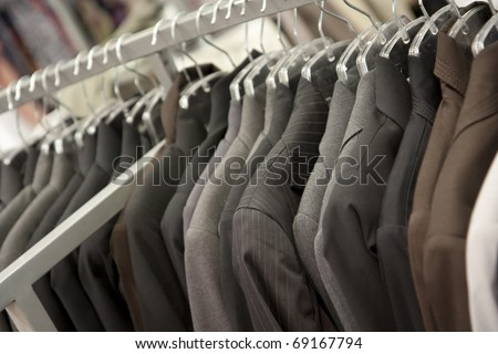 Suits on rack in a boutique