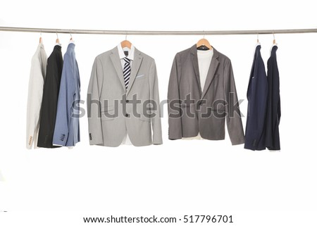suits Shirts with ties on wooden hangers
